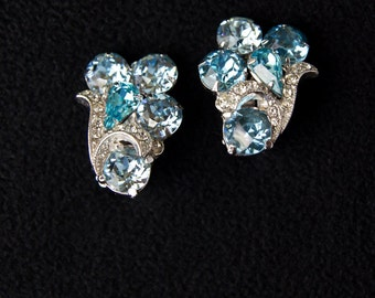 EISENBERG ICE Sky Aqua Blue Rhinestone Earring and  Brooch SET
