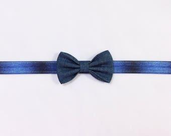 Denim signature bow baby headband newborn toddler girl bow headband