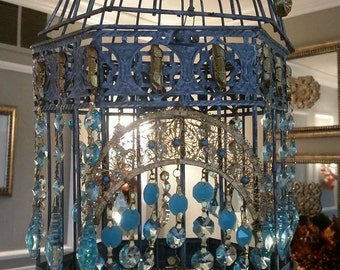 Moroccan Turquoise  Wrought Iron Chandelier and birdcage