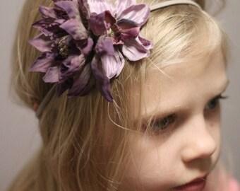 Purple Girls Elastic Headband, Floral headband