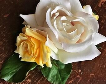NOSY ROSIE (YELLOW)- Wedding Dog Collar, Dog Flower Crown, Flower Dog Collar, White Roses, Yellow Roses, Romantic Flowers, Wedding Boquet