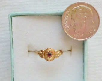 Estate Genuine 14K Yellow Gold Vintage Garnet Baby Baby's Girl Girls Ring sz 1/2 Tiny Pinky Marked 14 k kt 14kt Christening Shower Victorian