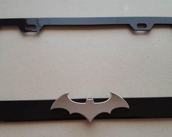 Batman Chrome 3D on Black Metal License Frame