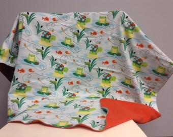 Flannel Frogs Pond baby throw blanket - Fish - Dragonflies - Turtles, handmade