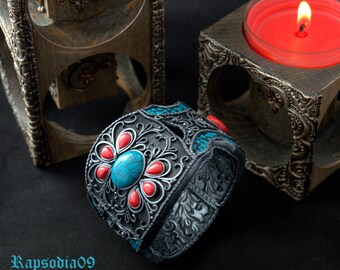 Tibetan bracelet from polymer clay Polymer clay jewelry bracelet Blue silver cuff bracelet Etnic style bracelet for woman