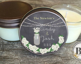Wedding Candle Favor // Candle Favor // Floral Wedding Favor // Soy Candle Favors Set of 12 - 4 oz