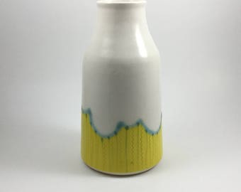 Yellow and White Ceramic Vase