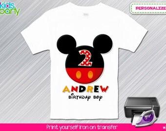 Mickey Birthday Boy Print Yourself Iron on Transfer