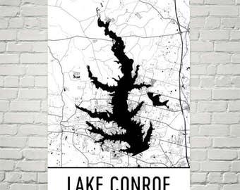 Lake Conroe Texas, Lake Conroe TX, Texas Map, Texas Decor, Lake Map, Conroe Lake Art, Art, Cottage Decor, Conroe Texas, Texas Boating Fish