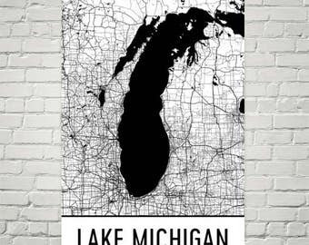 Lake Michigan Map, Lake Michigan Art, Great Lakes, Great Lake Map, Lake House Decor, Chicago Lake Map, Michigan Lake Art, Art, Cottage Decor