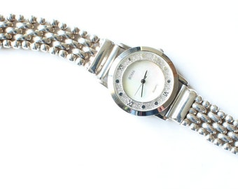Sterling Silver Watch Quartz Mother of Pearl Face Dial Gift for Her