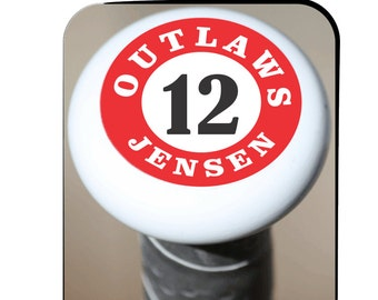 Baseball bat knobs, Baseball Bat Tags, keep track of your baseball bat, Tough and Durable, Includes your team name and your jersey number