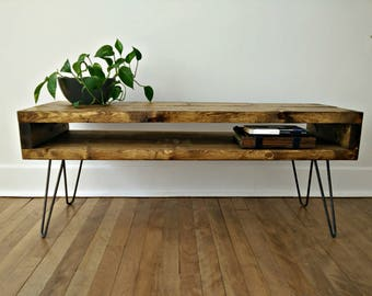 Coffee Table, Side Console, Mid Century Table, TV Console on Hairpin Legs