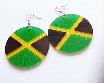 Round Jamaica Flag earrings