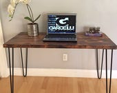 SALE!! Industrial Modern Desk, Modern Rustic Desk, Hairpin Legs, Dark, Office Desk Midcentury, Shou Sugi Ban