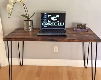 SALE!! Industrial Modern Desk, Modern Rustic Desk, Hairpin Legs, Dark, Office Desk Midcentury, Shou Sugi Ban