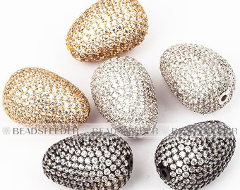 Pigeon egg beads,  Micro Pave Bead/CZ Bead/Clear Cubic Zirconia space beads,Women Bracelet Charms,plated color,20mm,1pc