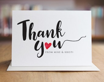 Personalized Thank You With Love Note Card Set /  Calligraphy Thank You Cards / Modern Stationery / Folded Shimmer Note Cards - T333