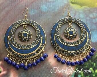 Blue Earrings, Statement Earrings, Navy Blue Earrings, Big Blue Earrings, Mosaic Earrings, Large Earrings, Chunky Earrings, Bold Earrings