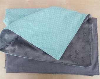 BALANCE velvet minky baby blanket grey/Mint Green-20% with coupon code: SOLDESSUMMER20