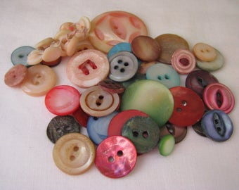 38+ Assorted Colors Vintage Mother of Pearl Buttons