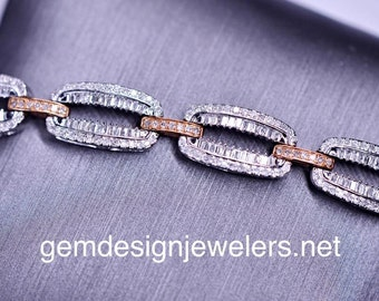 Two Tone Rose and White Gold Diamond Bracelet