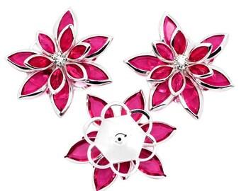 Rhinestone Silver Plated Flower Embellishment 35x30mm ~ Choose Color ~