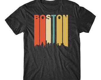 Vintage Retro 1970's Style Boston Massachusetts Cityscape Downtown Skyline Shirt