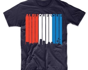 Retro Style Red White And Blue Albuquerque New Mexico Skyline T-Shirt