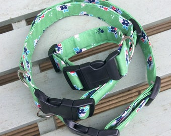 Dog Collar - green flowers