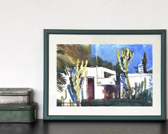 Aquarelle Original Painting, Cactus, Watercolor Painting Original, Blue, Countryside Painting, Blue Green Wall Art, Small Original Art