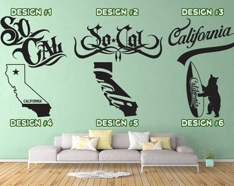 California / So-Cal - 12 Designs - Vinyl Wall Decals - Multiple Colors