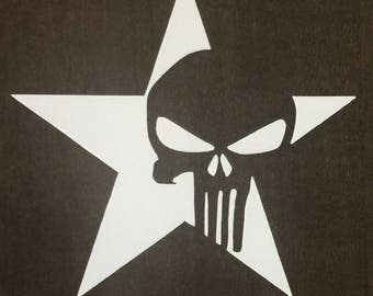 Punisher with Star Vinyl Decal