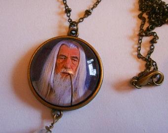 Magical Wizard Pendant with Genuine Vintage Swarovski Crystal Ball