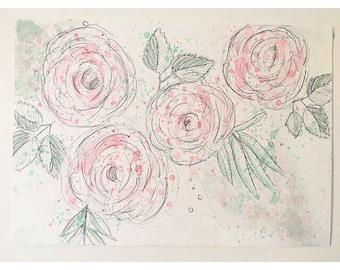 Watercolour & Graphite Roses