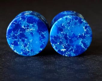 "Blue Agate Stone Plugs (4G - 1"")"