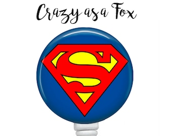 Superman Retractable Badge Holder,   Retractable ID Badge Holder, Super Hero Badge Reel, ID Badge Reel