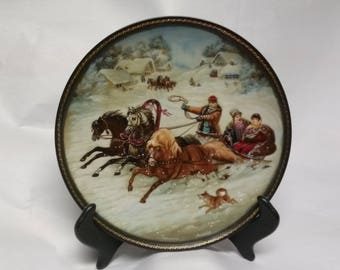 Collectors Plate A Winter Sleigh Ride