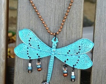 Dragonfly vintage hand made necklace