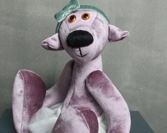 "The ""Gulya"" Bear, Mechanical teddy bear, Purple velvet, hand made, decorative"