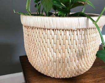 Woven Wood Planter - Boho Home Decor - Plants