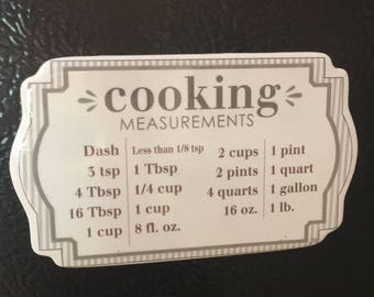 Kitchen Magnet Cooking Measurement Conversions Made Easy Magnet  wedding gift measurements
