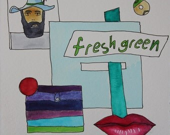 Fresh Green. Fine Art, Painting, Painting, Silly Art, Gift Art, Small Art, Watercolor