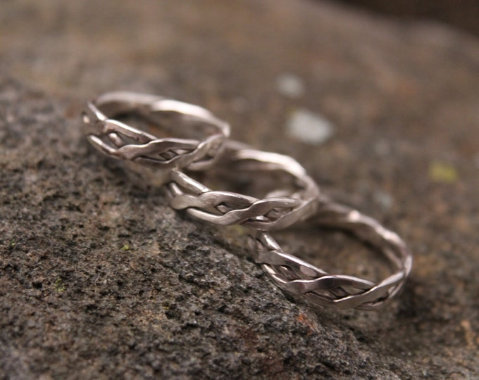 Sterling Silver Ring Twisted, Fused and Forged Braided, Infinity Weave, Celtic Knot, Tribal Twist Design Mens or Ladies Ring, Viking Ring