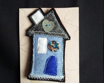 Felt House Brooch