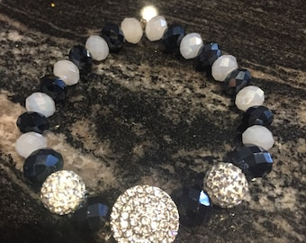 Crystal stretch bracelet with black and white crystal beads.