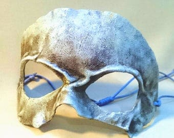 Bone effect mask - moulded and handpainted leather