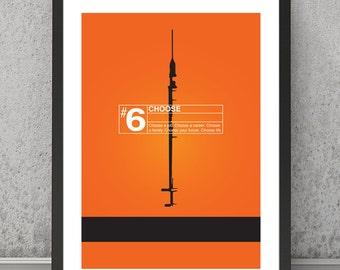 Trainspotting print, Trainspotting poster, Trainspotting art, minimalist print, minimalist poster, contemporary print, contemporary poster