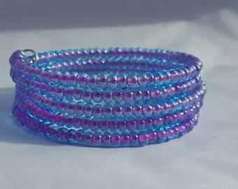 Purple memory wire bracelet.