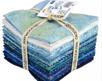 Java Batiks Fat Quarters - Variety of blue batiks - 20 fat quarters